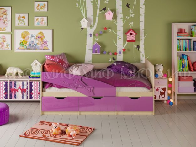 кровать детская дельфин глянец фиолетовый
