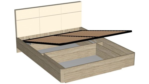 Кровать 160 см с механизмом подъема кровати - Беата - Дуб сонома/Софт светлый