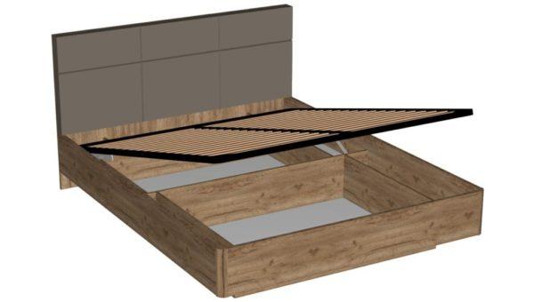 Кровать 160 см с механизмом подъема кровати - Беата - Дуб Крафт табачный/Матовый шоколад