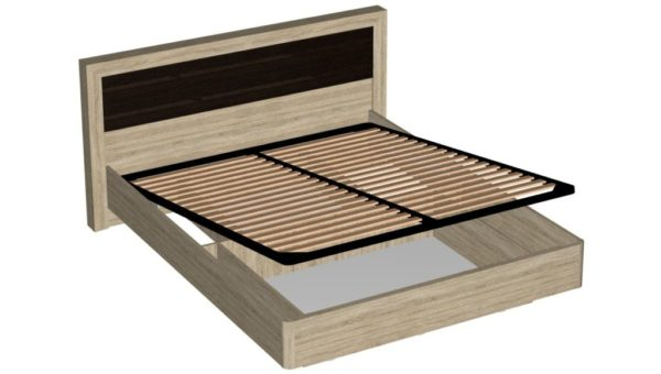 Кровать с подъемным механизмом 160 см - Ника - Дуб сонома/Венге
