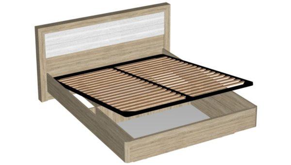 Кровать с подъемным механизмом 160 см - Ника - Дуб сонома/Белый жемчуг