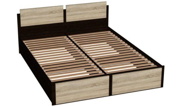 Кровать 160 см с основанием (ламели) - Эрика - Венге/Дуб сонома