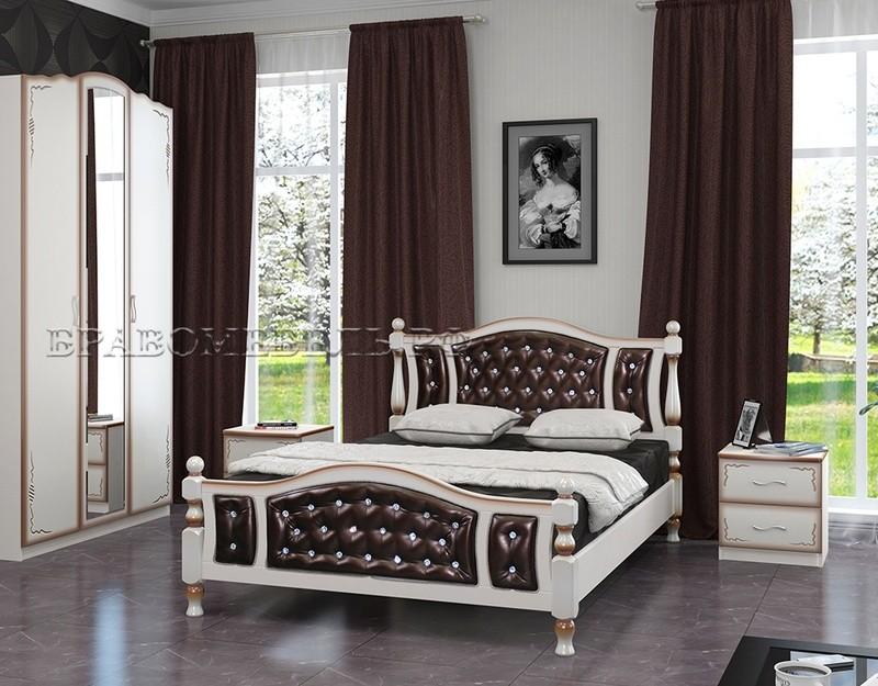 Кровать Жасмин дуб молочный, темная кожа