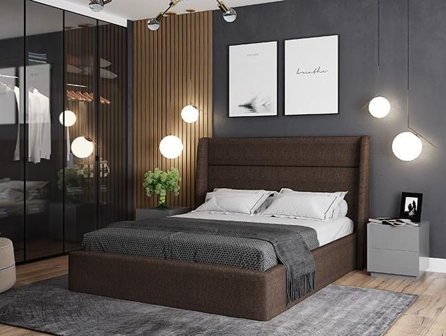 Бруклин Кровать 1.6 коричневая рогожка